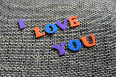 Eu te amo palavra com letras Imagens de Stock