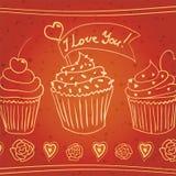 Eu te amo! queques do doodle Imagem de Stock