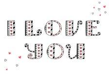 Eu te amo Rotulação do vetor Corações e linha Cartão dos Valentim ilustração royalty free