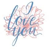 Eu te amo rotulação tirada mão com flor do gerbera Ilustração do vetor Imagem de Stock Royalty Free