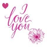 Eu te amo rotulação tirada mão Flor e coração do Gerbera Ilustração do vetor Fotos de Stock