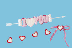 Eu te amo seta e corações Foto de Stock