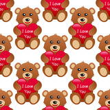 Eu te amo Teddy Bear Seamless Pattern Imagem de Stock Royalty Free