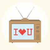 Eu te amo televisão retro ilustração do vetor