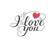 Eu te amo texto escrito à mão para o convite, inseto, cartão Imagens de Stock