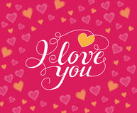 Eu te amo texto escrito à mão para o convite, inseto, cartão Fotos de Stock Royalty Free