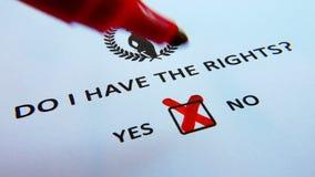 Eu tenho os direitos? Folha de papel com imagem de uma senhora Justice video estoque