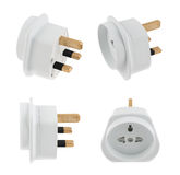 EU to UK converter plug adapter isolated Stock Photos