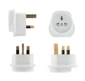 EU to UK converter plug adapter isolated Stock Images