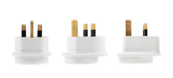 EU to UK converter plug adapter isolated Royalty Free Stock Photos