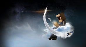 Eu transformar-me-ei astronauta e mosca ao espaço Meios mistos Meios mistos foto de stock royalty free