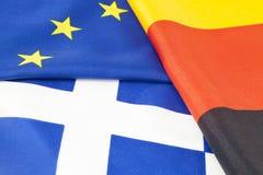 EU, tysk och grekisk flagga Arkivbilder