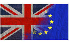 EU UK referendum, textured flags merged Royalty Free Stock Photography