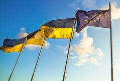 EU UKRAINE FLAG. FLags of European union and Ukraine Royalty Free Stock Photo