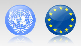 Eu and un signs. United nations and european union signs Royalty Free Stock Images
