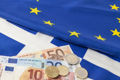 EU und griechische Markierungsfahne Stockfoto