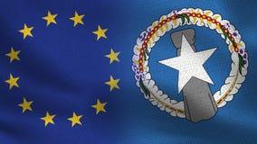 EU und Nord-Mariana Islands Realistic Half Flags zusammen Lizenzfreies Stockfoto