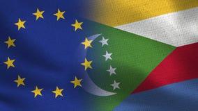 EU und realistische halbe Flaggen Komoren zusammen lizenzfreies stockbild