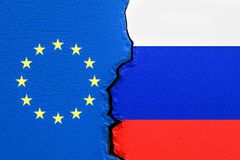 EU und Russland, politisches Konfliktkonzept Wiedergabe 3d stock abbildung