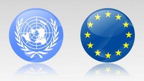 Eu- und UNO-Zeichen Lizenzfreie Stockbilder