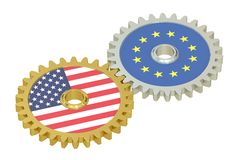 EU and United States relations concept, flags on a gears. 3D ren Stock Photo