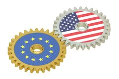 EU and United States relations concept, flags on a gears. 3D ren Royalty Free Stock Images