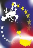 EU and USA. Flags European Union and The United States of America stock illustration