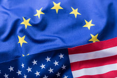 EU and USA. Euro flag and USA flag Stock Photo