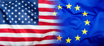 EU and USA. Euro flag and USA flag Stock Photos