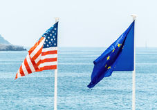 The eu and the usa flag Royalty Free Stock Photography