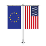 EU and USA flags hanging together. Stock Images