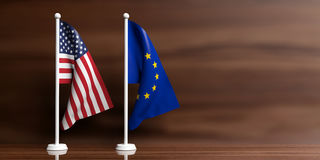 EU and USA flags on wooden background. 3d illustration Royalty Free Stock Photo
