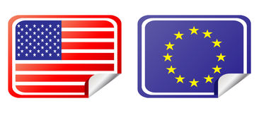Eu and usa label flag Royalty Free Stock Photos