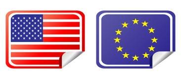 Eu and usa label flag. Vector illustration Royalty Free Stock Photos