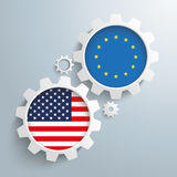 EU USA Partnership Gears Stock Photography