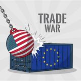 Trade war concept. EU and USA trade war business concept vector illustration graphic design Royalty Free Stock Images