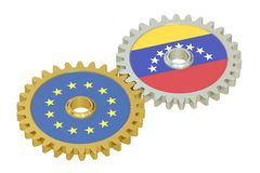 EU and Venezuela relations concept, flags on a gears. 3D renderi Stock Image