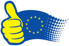 Eu yes. European Union flag. Hand showing thumbs up Royalty Free Stock Image
