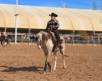 EUA, AZ: Cavaleiro no cavalo árabe Imagens de Stock
