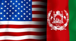 EUA - Bandeira de Afeganistão Imagens de Stock Royalty Free