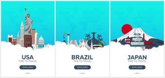 EUA, Brasil, Japão Hora de viajar Grupo de cartazes do curso Ilustração lisa do vetor Fotografia de Stock