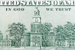 EUA cem dólares de conta, close-up de Salão da independência Imagem de Stock