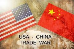 EUA contra China Conceito da guerra comercial fotos de stock royalty free