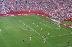EUA contra o final de Japão no campeonato do mundo de FIFA Women's Imagens de Stock Royalty Free