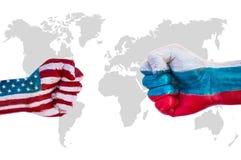 EUA contra Rússia foto de stock