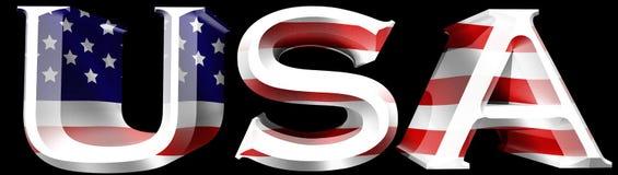 EUA 3D com ilustração da bandeira americana Fotos de Stock Royalty Free