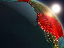 EUA do espaço durante o nascer do sol Imagens de Stock Royalty Free