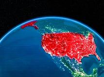 EUA do espaço na noite Imagens de Stock