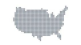 EUA Dot Map Conceito para trabalhos em rede, tecnologia e conexões Gráficos do movimento