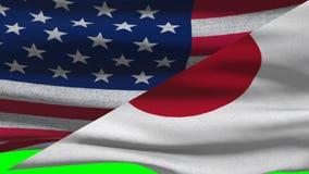 EUA e bandeiras de ondulação de Japão em uma tela verde ilustração stock